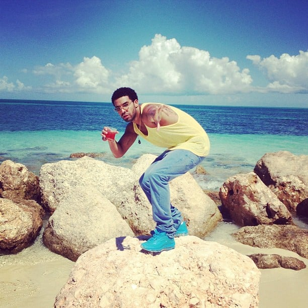 Drake struck his best boy-band pose during a day on the beach. Source: Instagram user champagnepapi