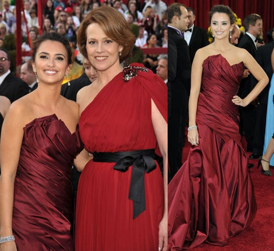 Penelope Cruz and Sigourney Weaver Match the Carpet In Shades of Red!