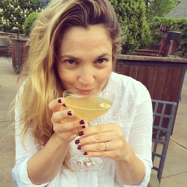 Drew Barrymore sipped a cocktail. Source: Instagram user drewbarrymore
