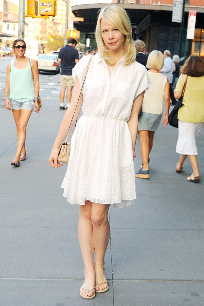 Looking summery in white, Erin Fetherston arrived for the DVF event.