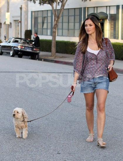 Pictures of Minka Kelly Walking Dog in LA