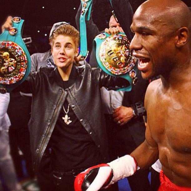 Justin Bieber joined Floyd Mayweather in the ring before his recent boxing match.  Source: Instagram user floydmayweather