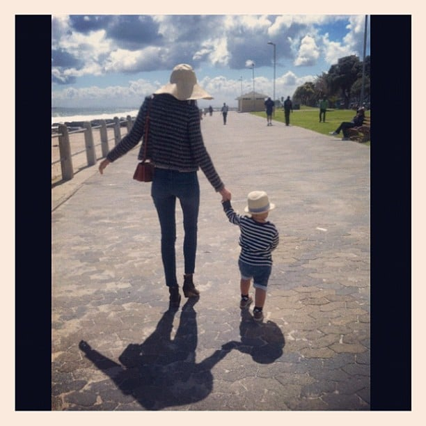 Miranda Kerr walked hand-in-hand with her son, Flynn. Source: Instagram user mirandakerrverified