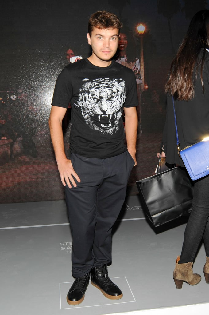 Actor Emile Hirsch let out a roar in this tiger-print t-shirt.