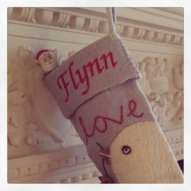 Miranda Kerr snapped a picture of Flynn Bloom's cute Christmas stocking.  Source: Instagram user mirandakerr