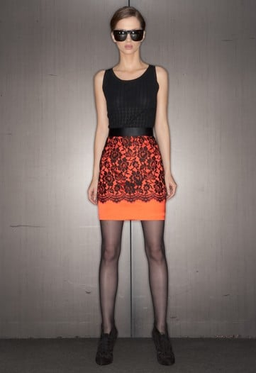 Neon Prints Mixed with Black Lace at D&G Pre-Fall 2010