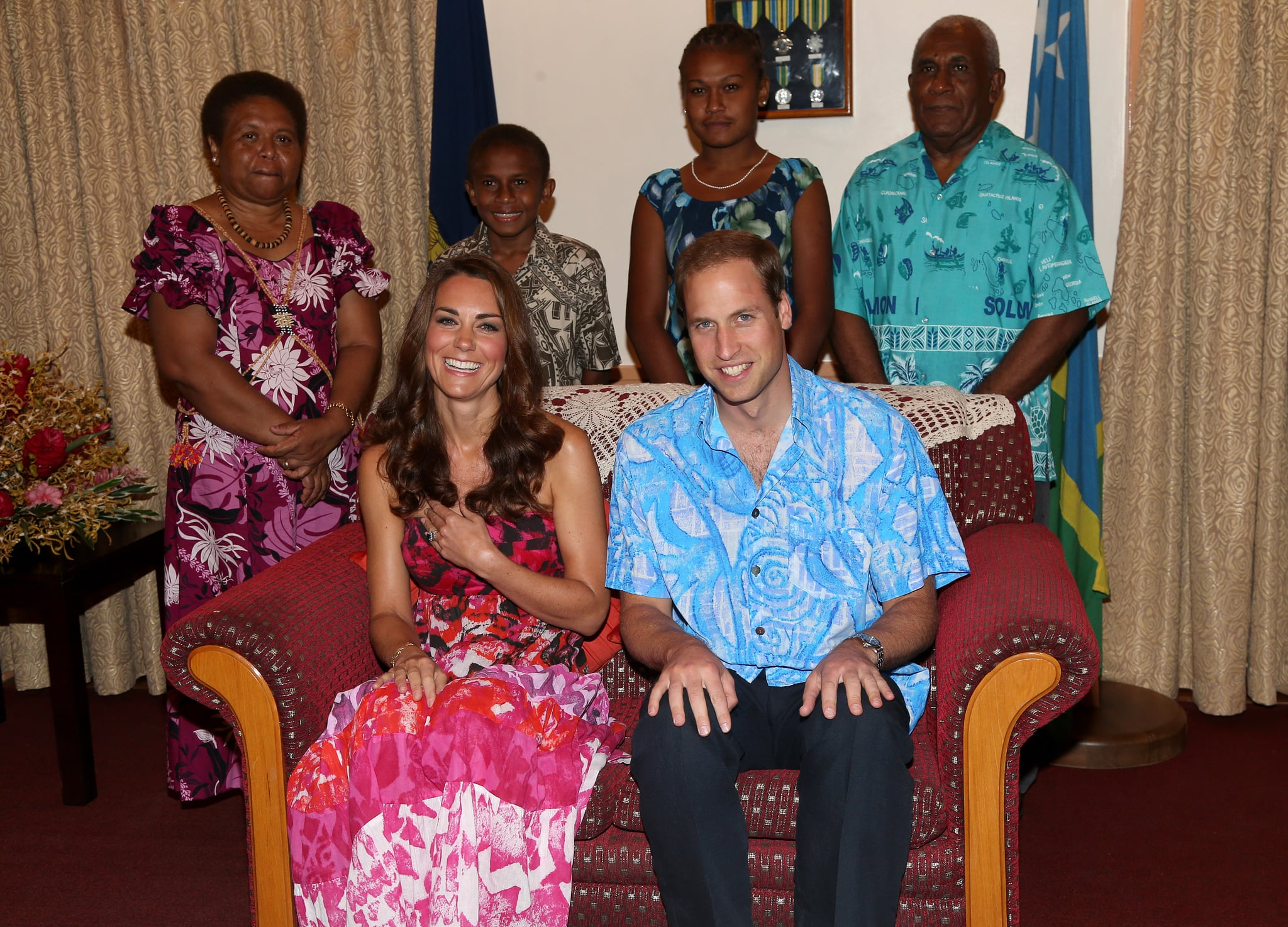Kate and William wore traditional gear while visiting Guadalcanal Island in September 2012.