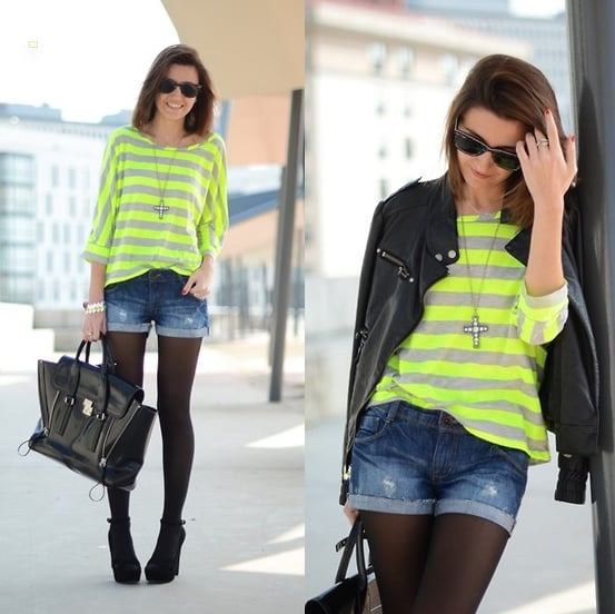 Still battling the Spring chill? Add neon stripes to freshen up a leather jacket and tights.  Photo courtesy of Lookbook.nu