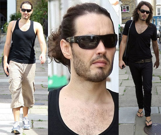 Photos Of Russell Brand With A Ponytail Looking Out Of Character At The Gym