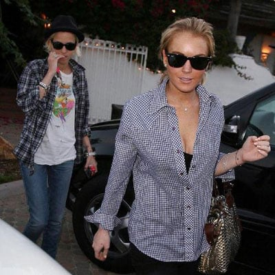 Lindsay Lohan and Samantha Ronson Leaving Taverna Tony's