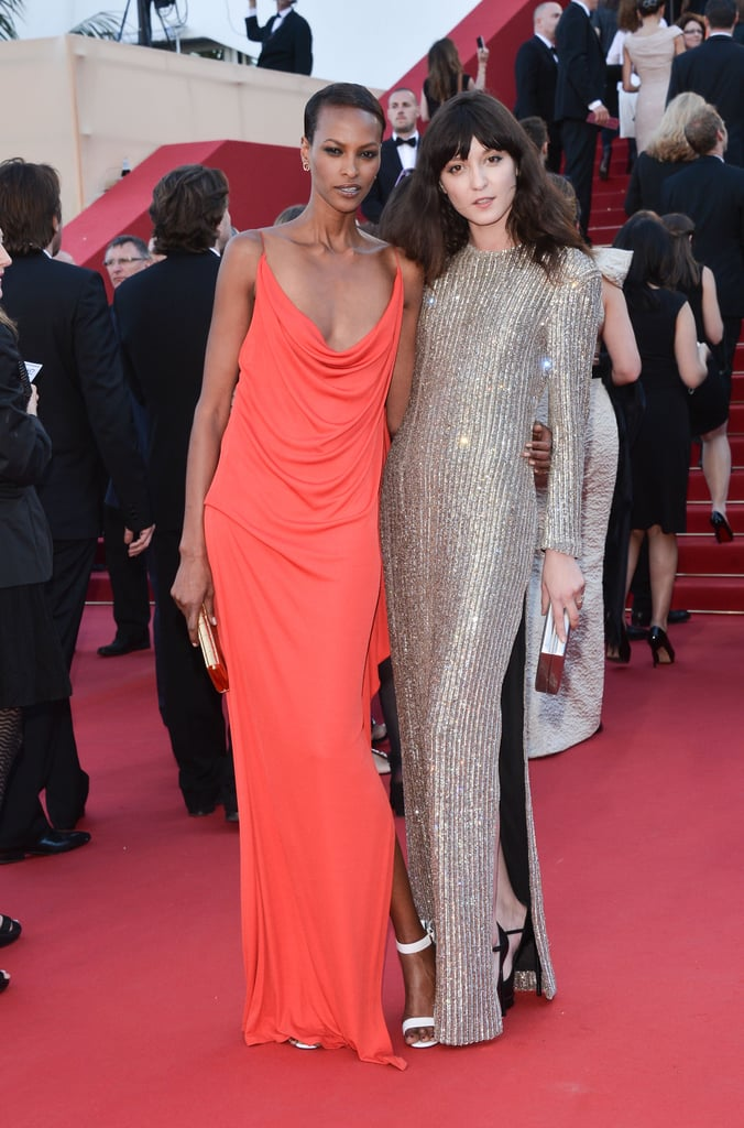 Yasmin Warsame and Irina Lazareau, wearing Saint Laurent, at the Cannes premiere of Blood Ties.