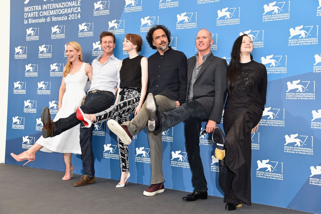 Emma Stone and the cast of Birdman got goofy at a press event.