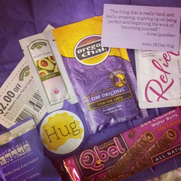 28 Day Hug  28 Day Hug is a different kind of period subscription box, as it doesn't contain any feminine hygiene products — just treats. How it works: For $4 (plus shipping), you can send yourself or a friend a mini care package to get through your period. Each monthly pack includes some kind of chocolate bar, a handful of tea bags, a body care product (like an aromatherapy shower tablet), and a sample or two of something else.  Source: Instagram user xxlovelydreamerxx