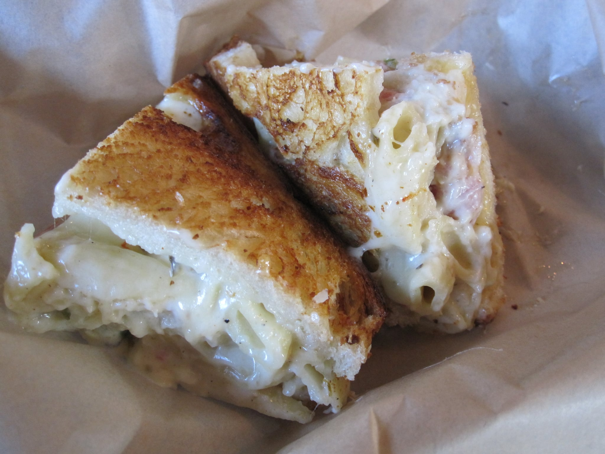 The grilled macaroni and cheese sandwich.