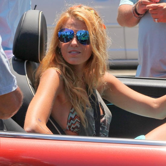 Blake Lively Filming Savages Driving a Mini Cooper Pictures