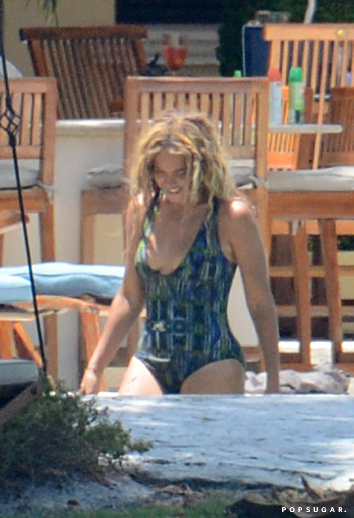 Beyoncé slipped into a one-piece swimsuit for a day by the pool.