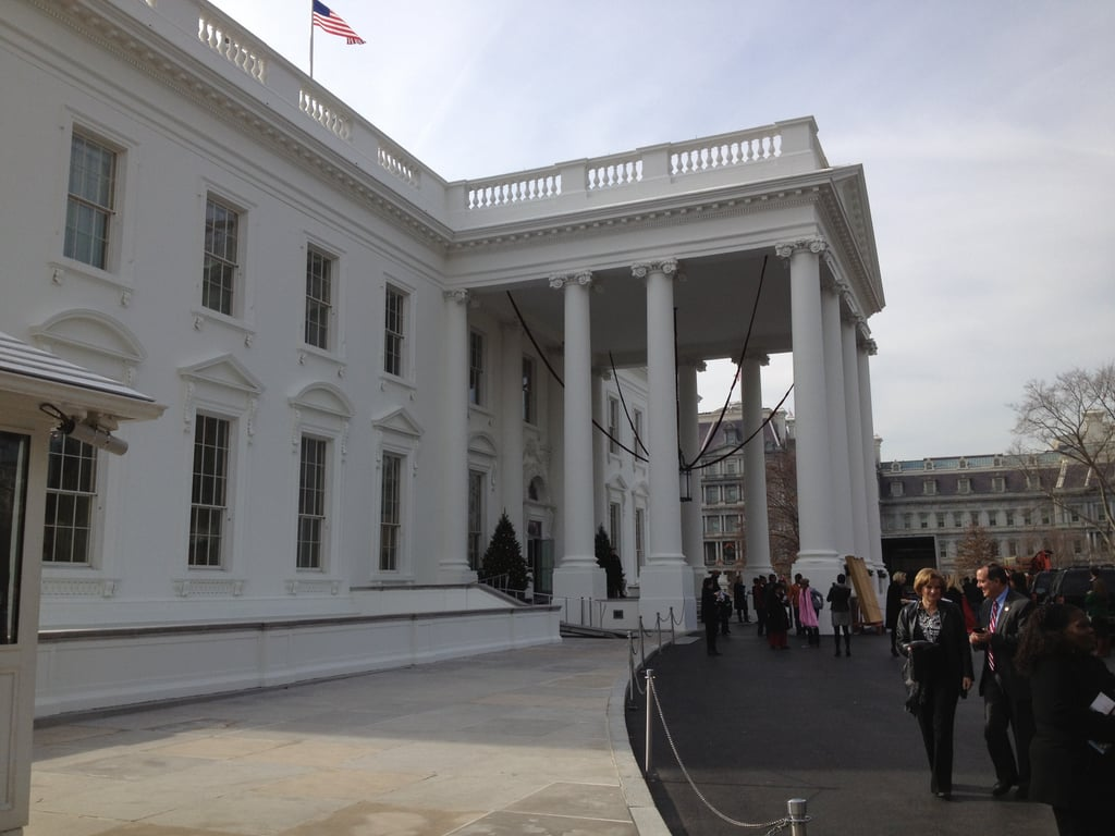 The tour commenced just as the stage outside the White House was being set for a special World AIDS Day ceremony, which was being topped off with a big, red ribbon.