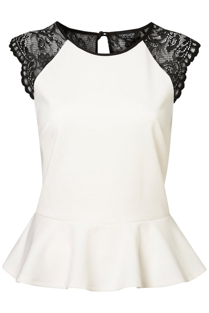 Let the lace sleeves and back on this peplum top be your only accessory. Topshop Lace Back Peplum Top ($56)