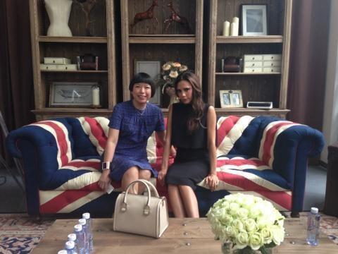 "Victoria Beckham tweeted a photo of a visit with Angelica Cheung, writing, ""Fun chatting with Angelica Cheung at Beijing BIFT.""  Source:Twitter user victoriabeckham"