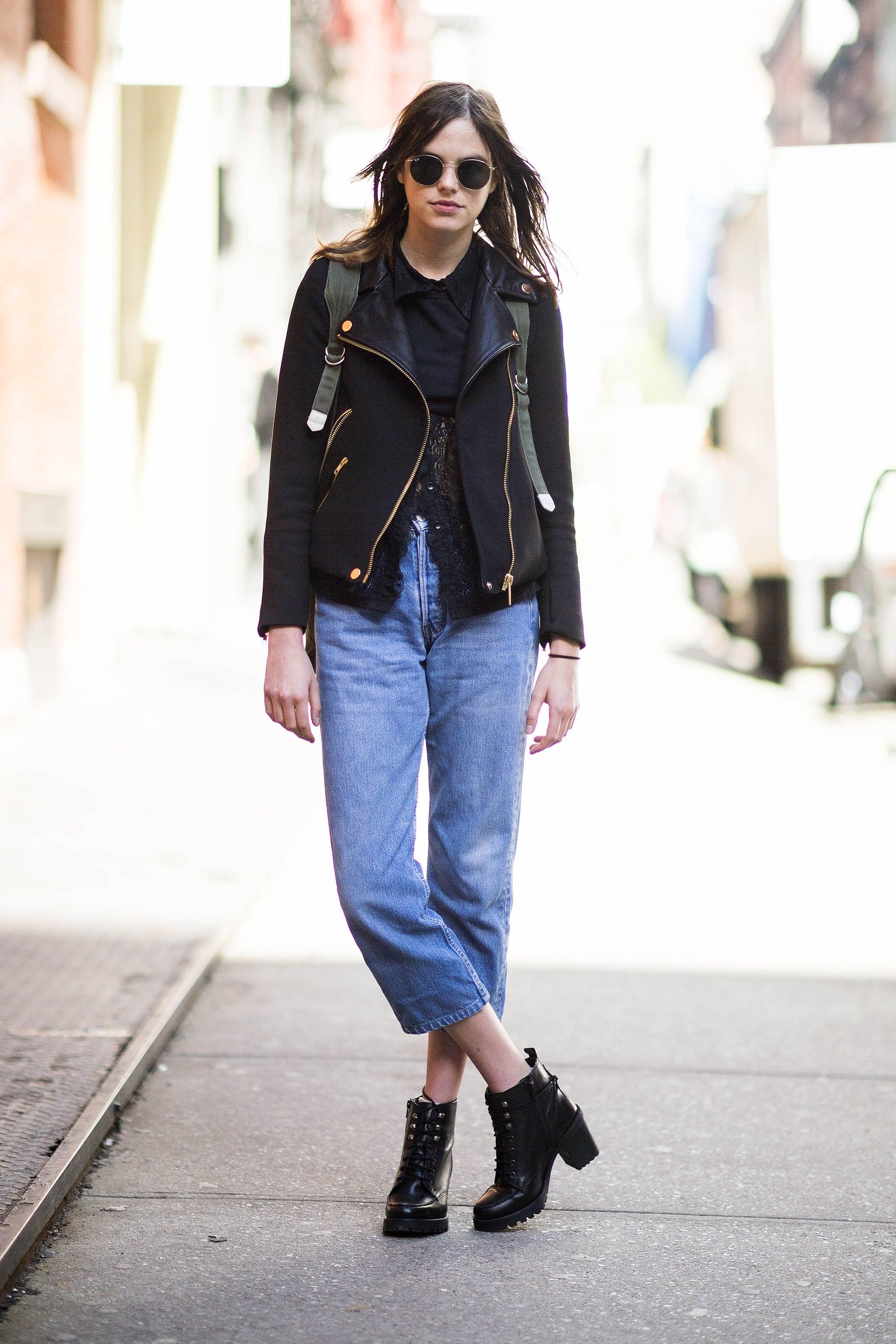 how to wear boyfriend jeans in winter