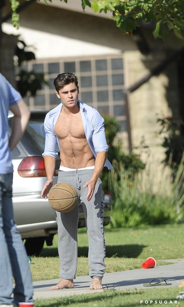 He showed skin while filming Neighbors in LA in May 2013.