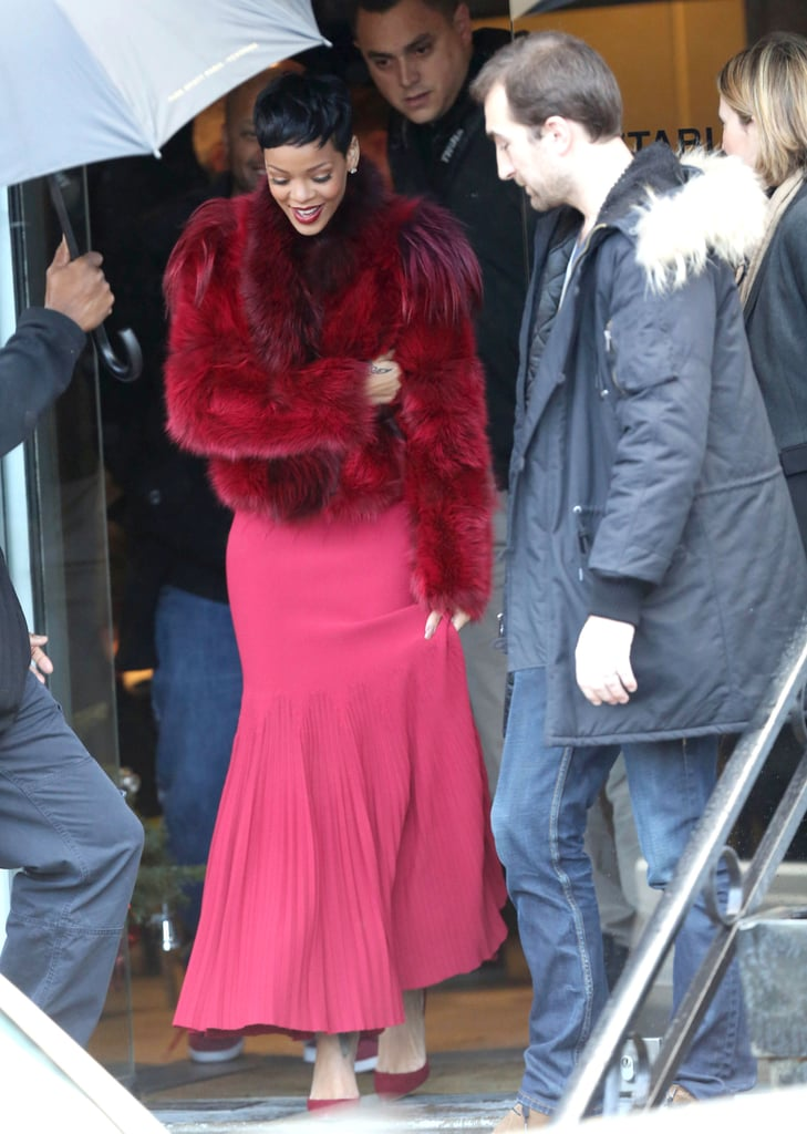 Lady in red. Rihanna looked ravishing in a cropped fur coat leaving a London recording studio in December 2012.