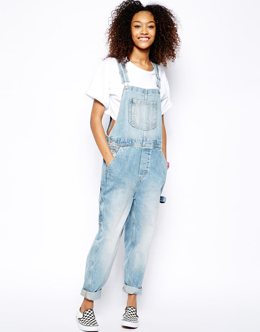 Monki light denim overalls ($85)