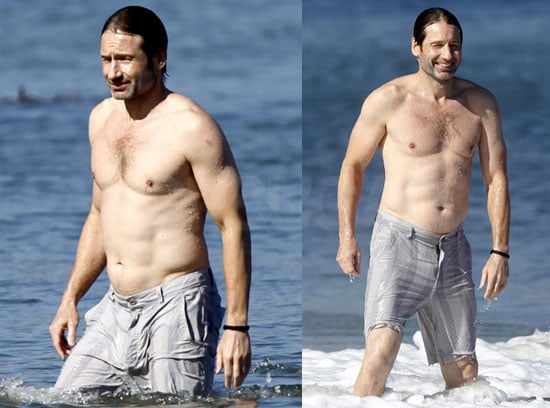 Pictures of David Duchovny Shirtless in Malibu With Téa Leoni