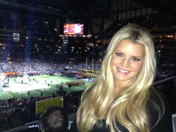 Jessica Simpson took a solo shot as she watched the Super Bowl in 2012.
