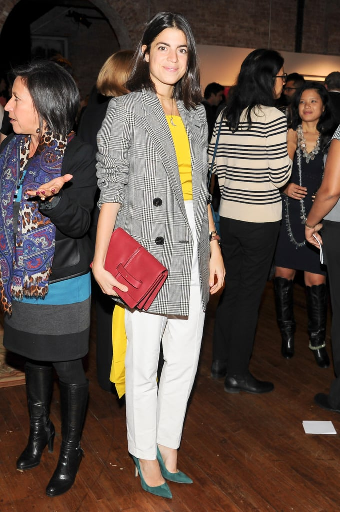A brightly accented Leandra Medine joined Artwalk for a benefit at 82 Mercer.