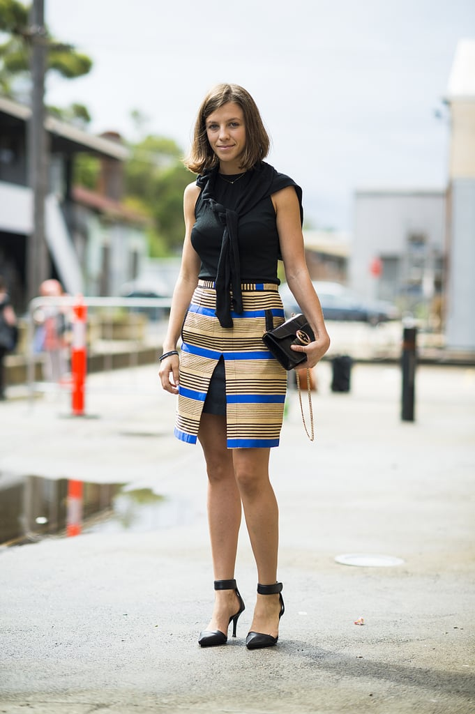 The striped and slit skirt stole the spotlight in this street-style mix. Source: Le 21ème | Adam Katz Sinding