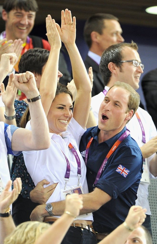 Prince William and Kate hugged after Team GB won gold over France in track cycling at the 2012 London Olympics.