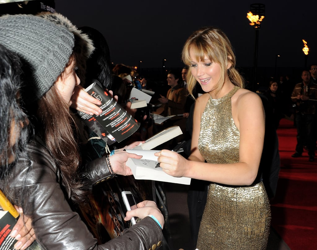 Jennifer Lawrence wore gold to a red carpet event in London.