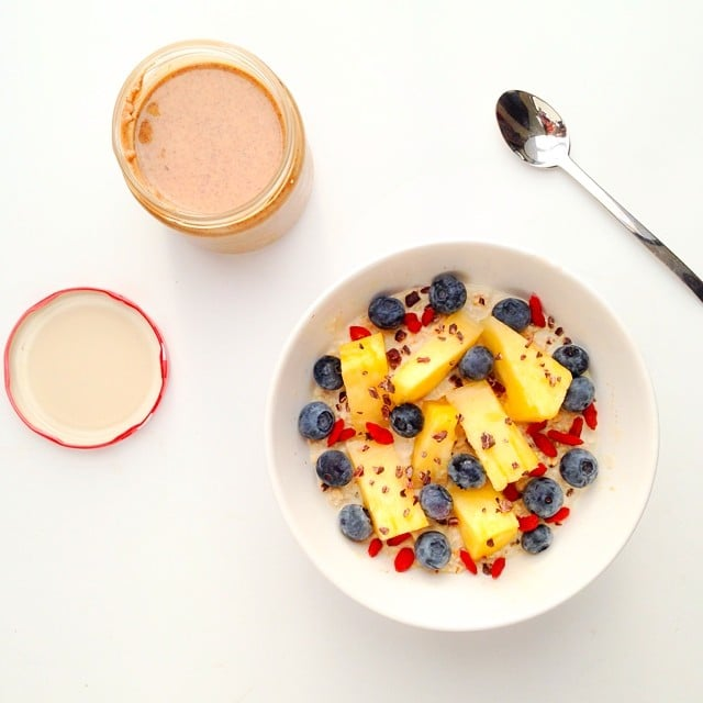 Take a trip to the tropics by adding pineapple and papaya to overnight oats.