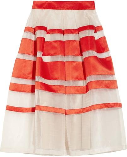 Temperley London Freya striped silk-blend organza and satin midi skirt