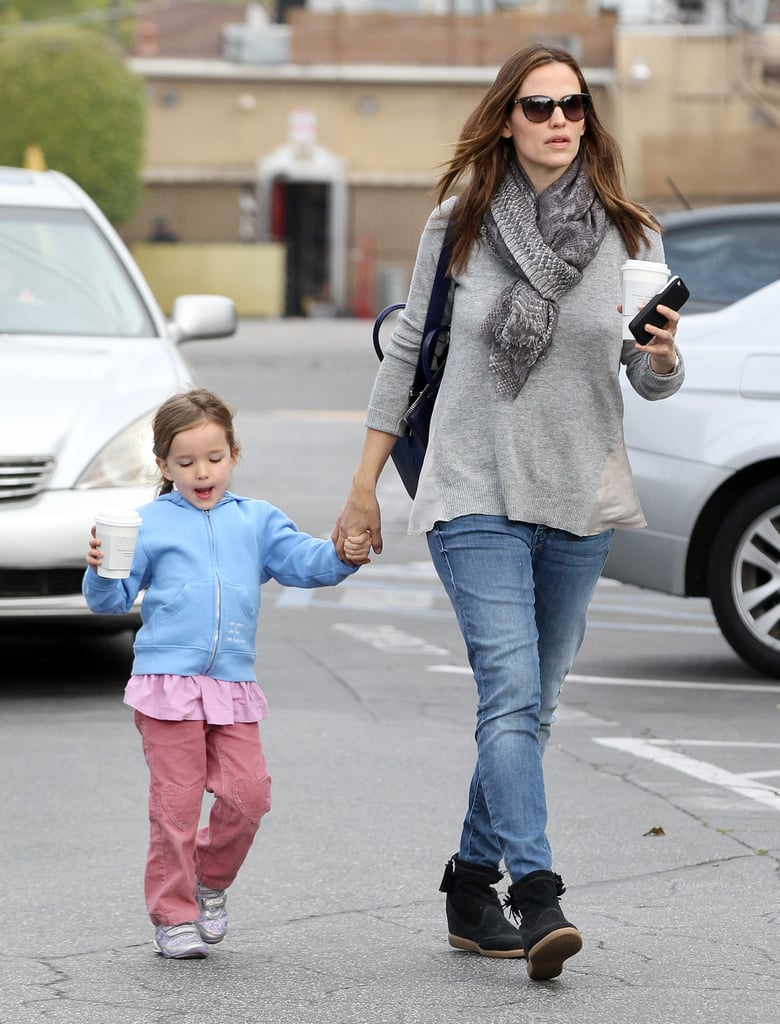 Jennifer Garner and Seraphina both held coffee cups in Brentwood.