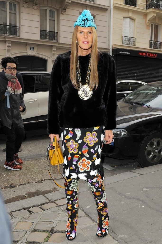 Anna Dello Russo outside the Maison Martin Margiela Haute Couture show.