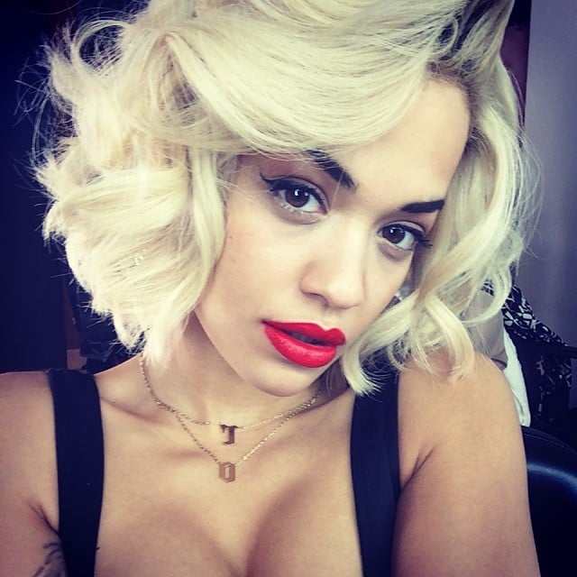 Rita Ora showed off a bombshell beauty look on the set of a photo shoot. Source: Instagram user ritaora