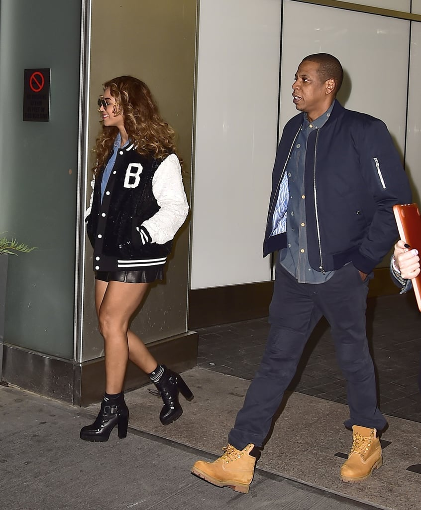 The couple coordinated in clunky boots and bomber jackets for an NYC outing in 2014.