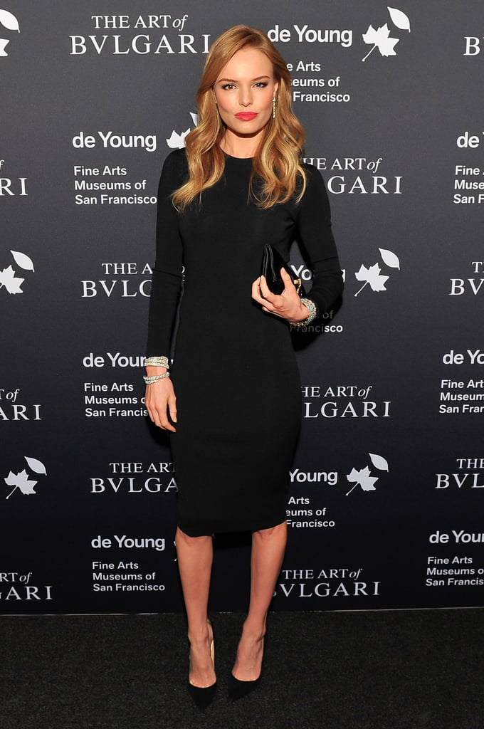 Kate Bosworth wore a black Stella McCartney dress for the Bulgari retrospective opening at the de Young Museum in San Francisco.