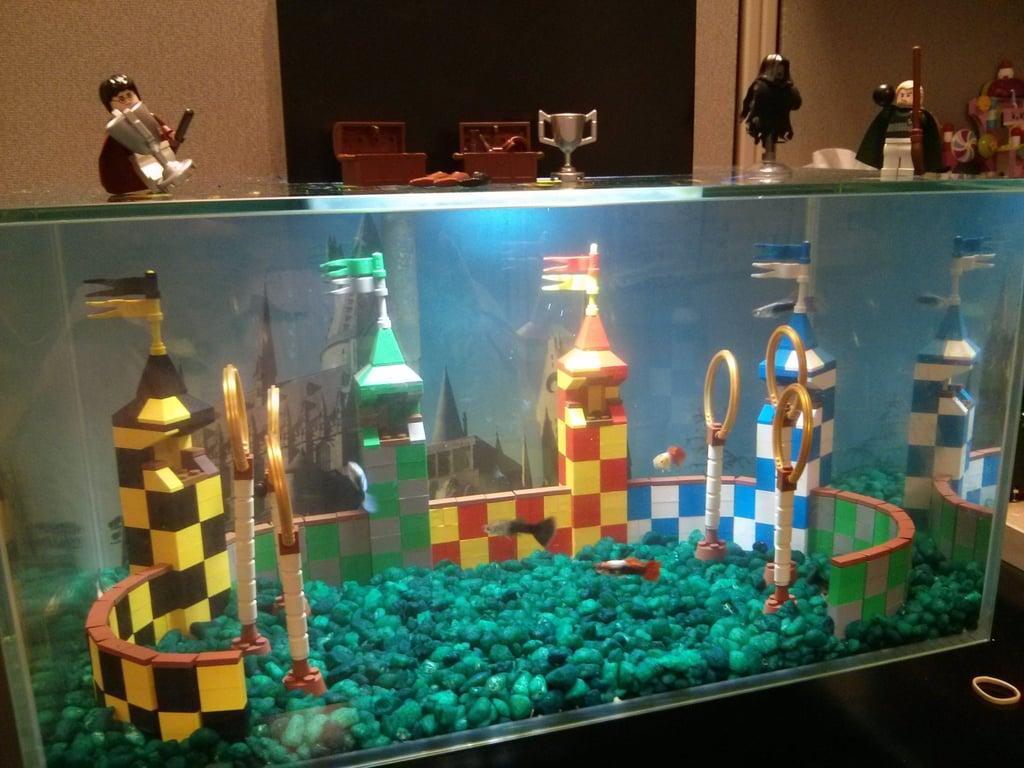 """""""My Lego Quidditch Aquarium at my Office"""" Source: Reddit user kst8er via Imgur"""