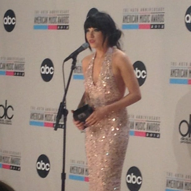 Carly Rae Jepsen hit up the press room following her win. Source: Instagram user vevo