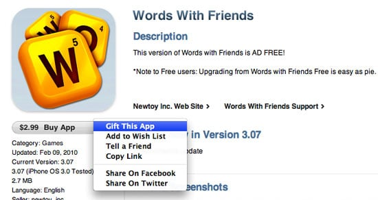 Apple Allows App Gifting in iTunes Store