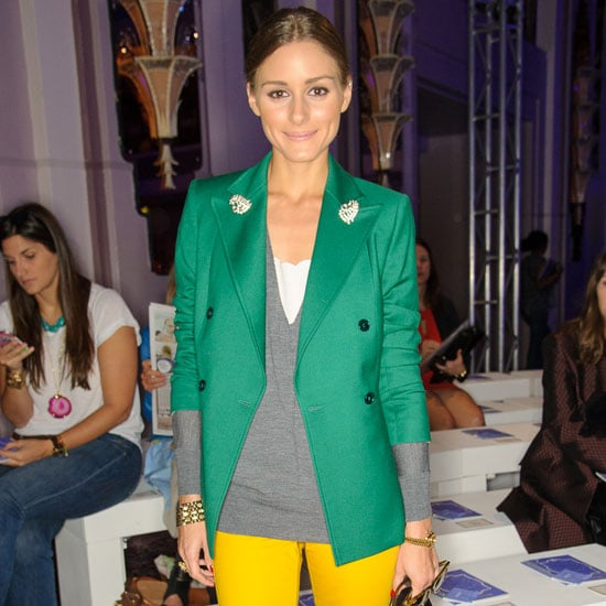 Olivia Palermo Wearing Yellow Jeans and Green Blazer