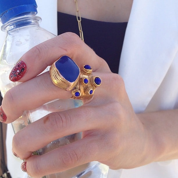 We instantly fell in love with this Saint Laurent blue and gold ring.