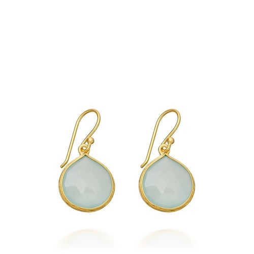 Aqua Chalcedony Small Drop Earrings By Como Gems
