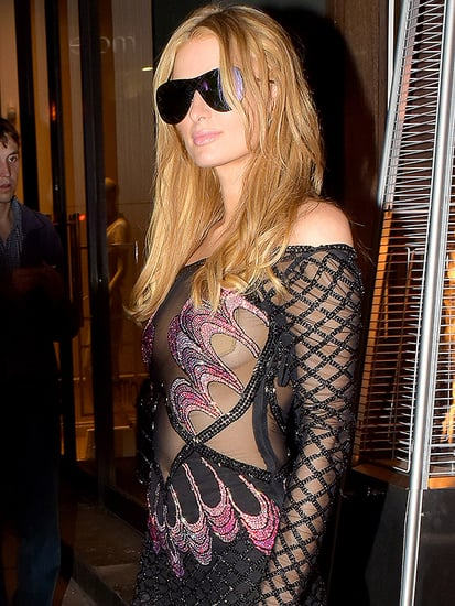 Paris Hilton Has a Minor Wardrobe Malfunction in a Sheer Dress During a Post-Cannes Night Out