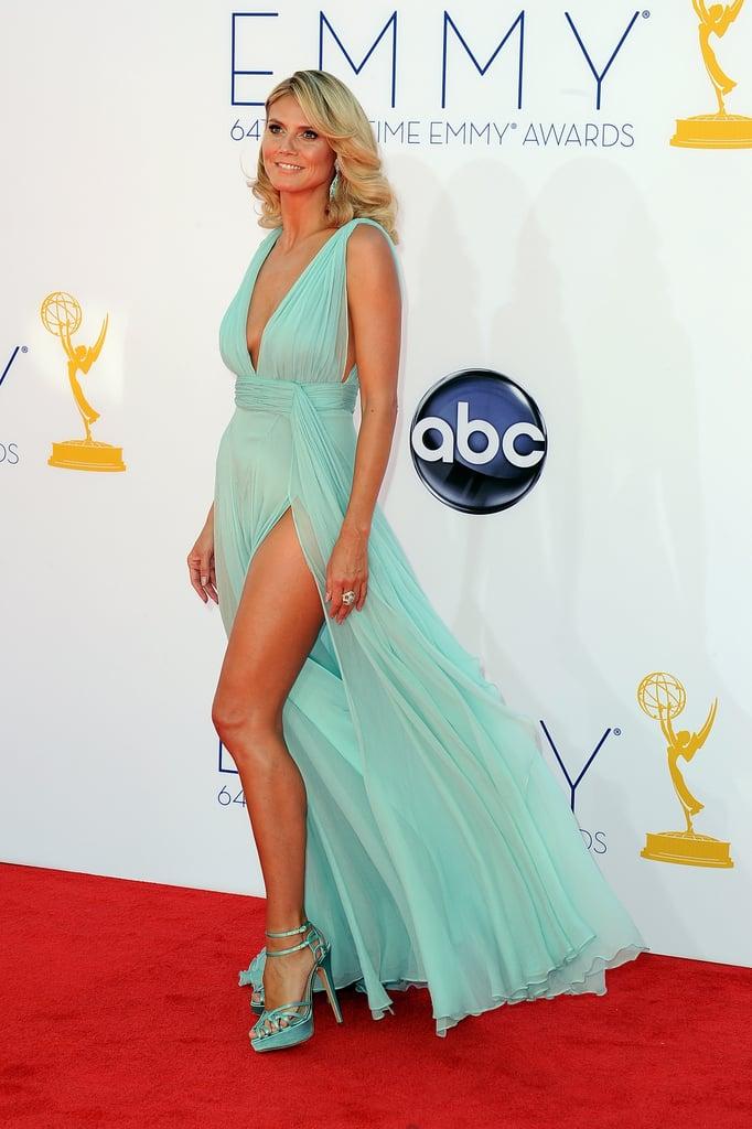 Heidi Klum wore an Alexandre Vauthier dress with two high slits.