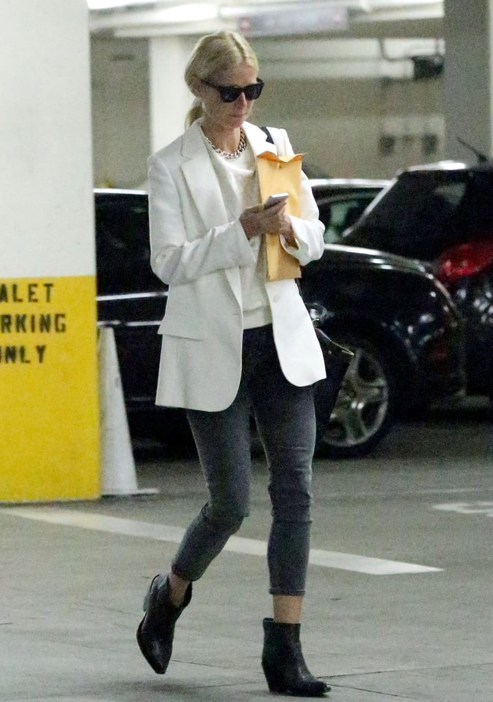 Gwyneth Paltrow's white boyfriend blazer and white top added a crisp edge to her cropped denim in LA.