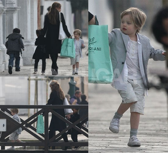 Photos of Angelina Jolie Going to a Playground in Venice with Shiloh, Zahara and Pax Jolie-Pitt